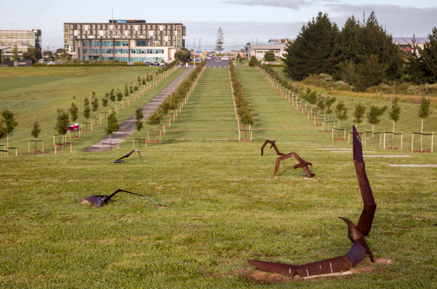 """""""Tumbling Albatross,"""" cast-iron works by distinguished New Zealand sculptor Greer Twiss, highlights the esplanade transition between Abbeville Estate and the Sculpture Park and Walk. Photo by Blake Marvin"""