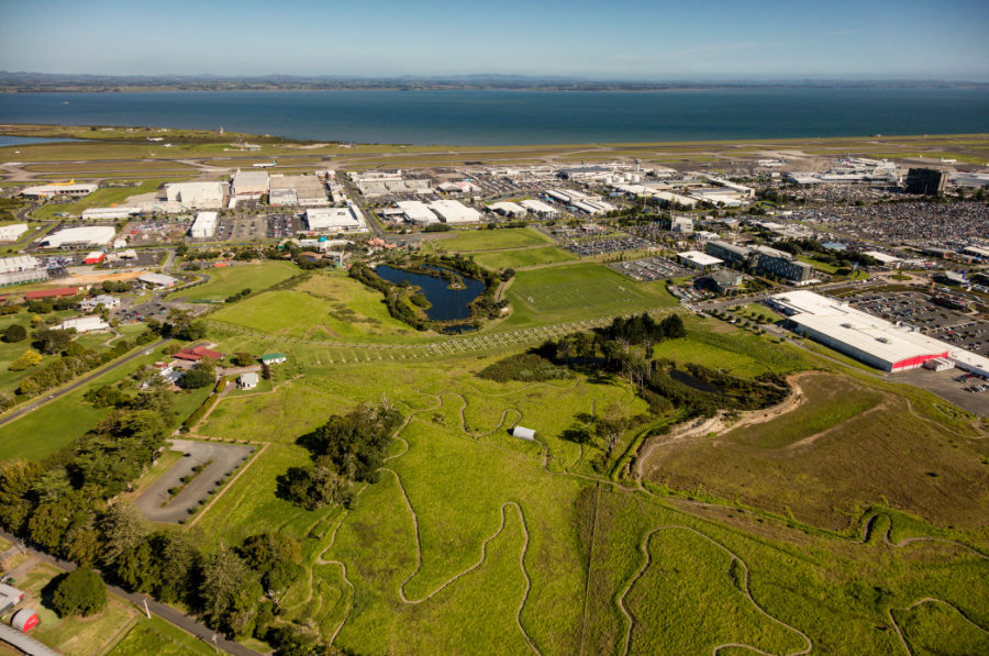 AKL's commitment to public recreation is evidenced by The Runway Mountain Bike Park. Surfacedesign conceived three miles of trails on this airport-owned parcel next to Abbeville Estate. AKL's runways are in the background. Photo by Blake Marvin