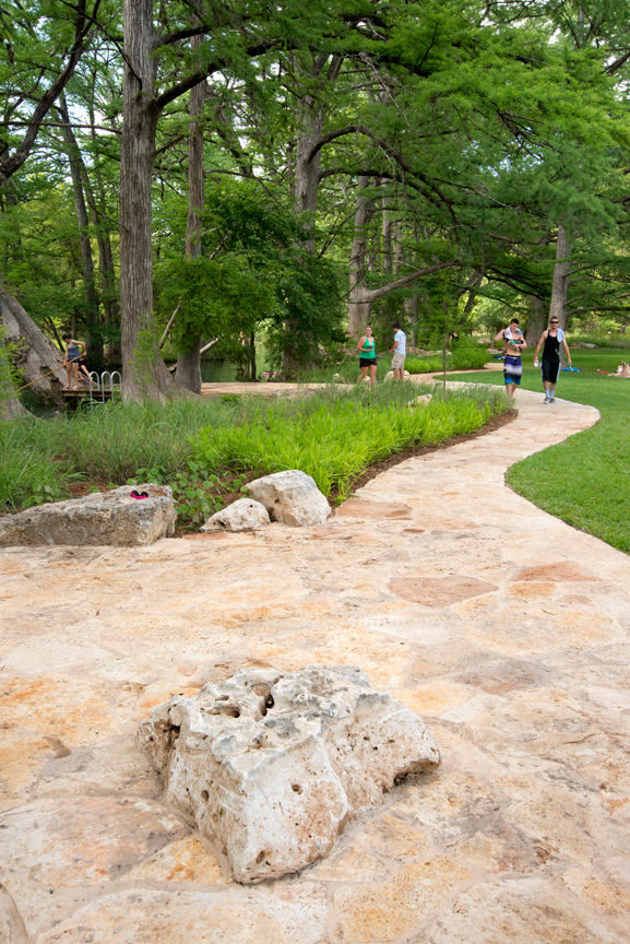 Reuse of on-site materials in the new design for Blue Hole's swimming area and park in Wimberley, TX resulted in hundreds of thousands in cost savings. Image: D.A. Horchner/Design Workshop