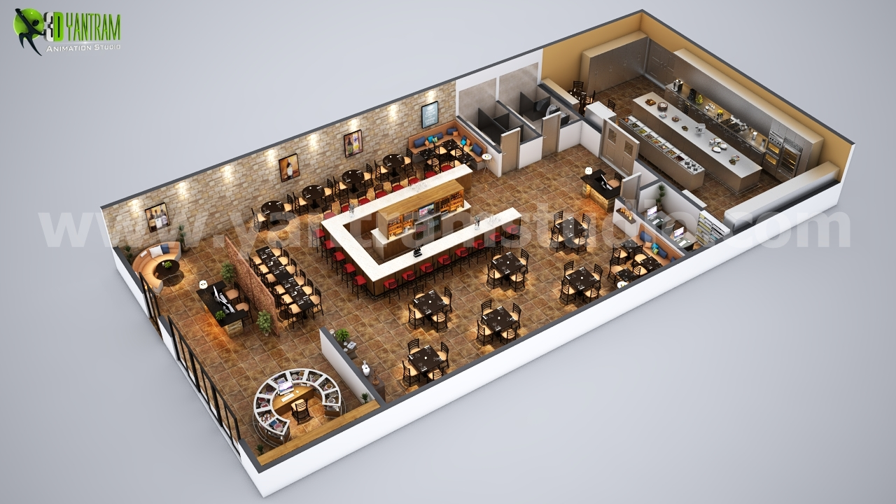 Fully Modern Bar 3D Floor Plan Design Ideas By Yantram architectural design studio Paris, France