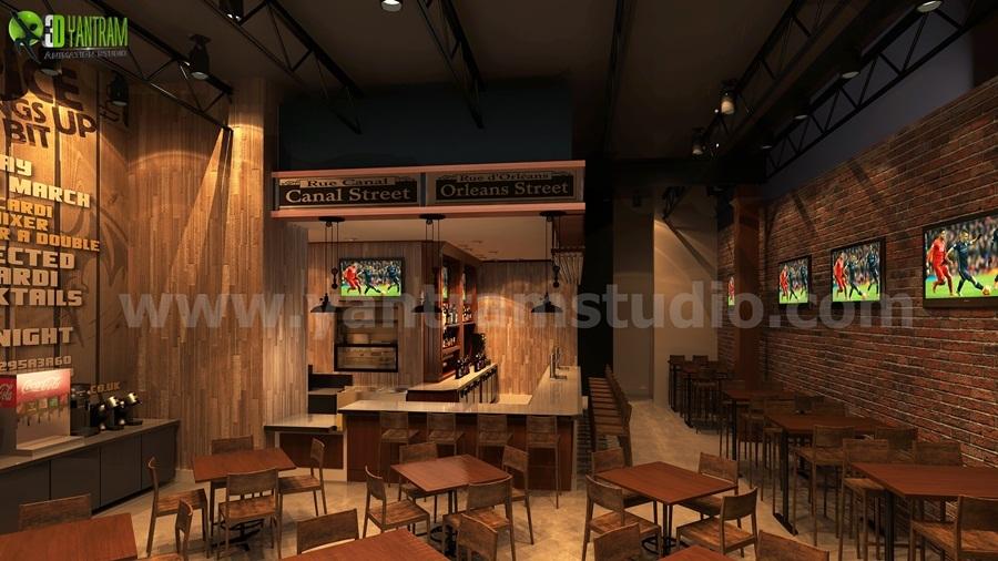 Commercial Unique Bar Design by Yantram interior design firms Brisbane