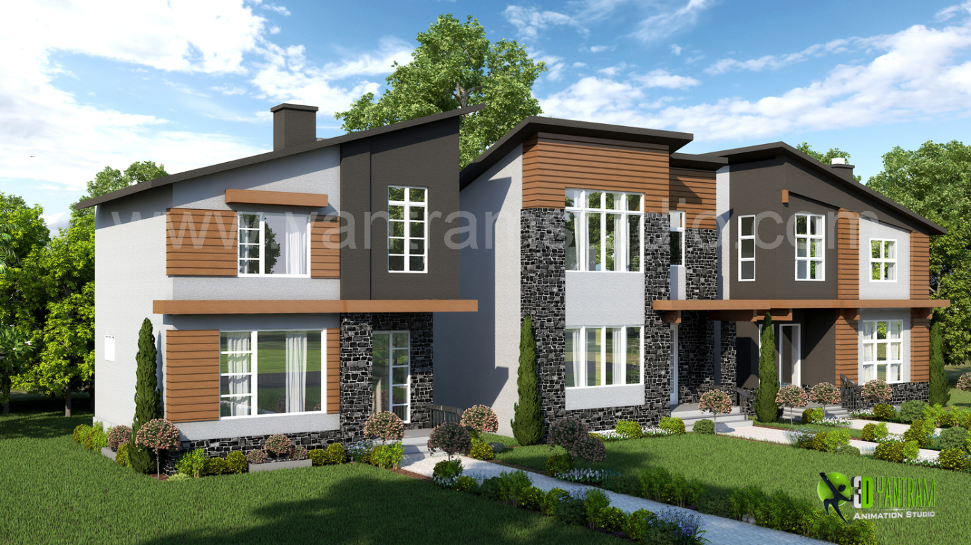 3d exterior residential home rendering design land8