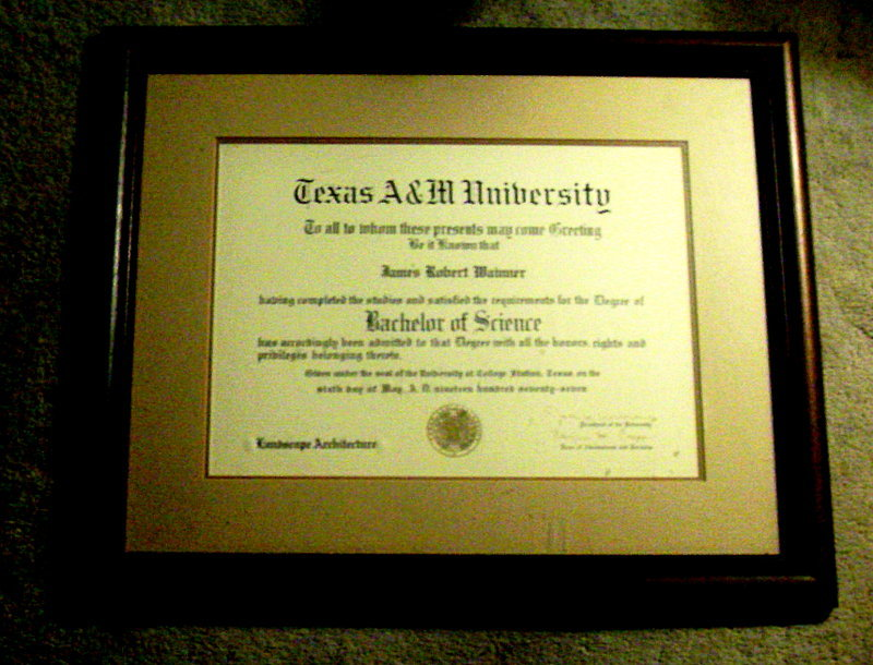 Bob's Diploma from Texas A&M University - 1977