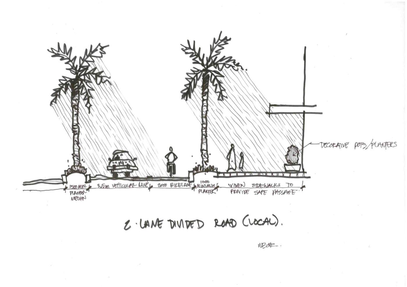 2-Lane Road-Median 1