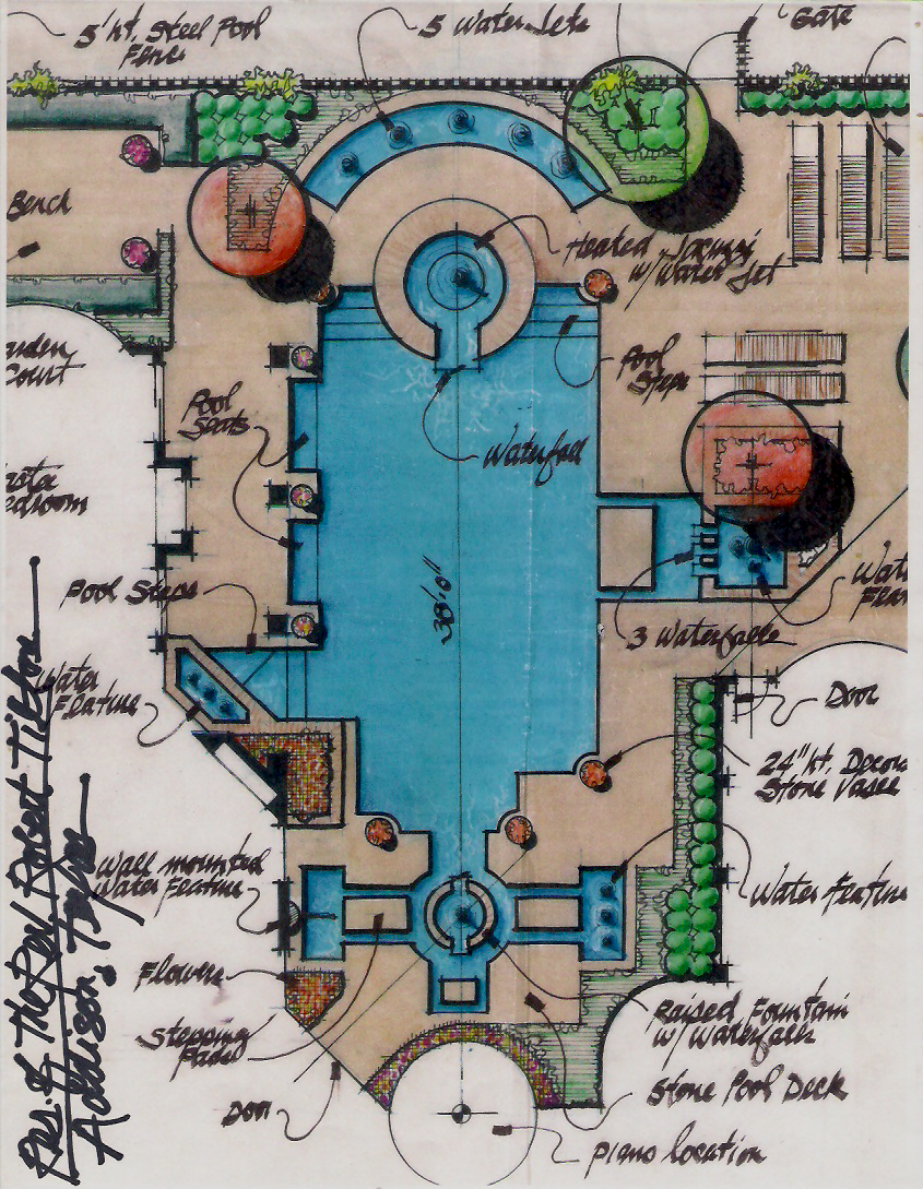 Hand drawn - Preliminary Color Rendering - Pool Area - Dallas, Texas 2012