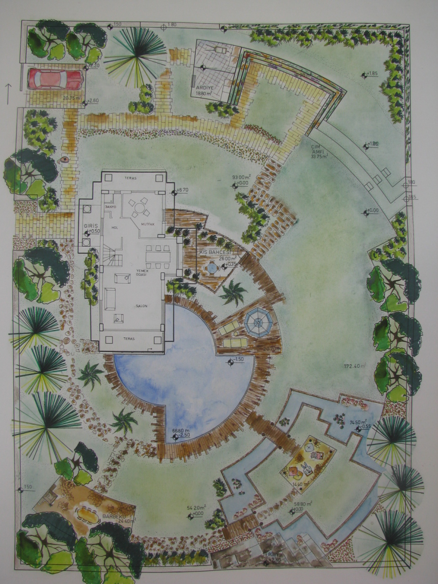 The first landscape design project_ house garden